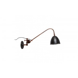 Vegglampe - kobber og mørkgrå skjerm