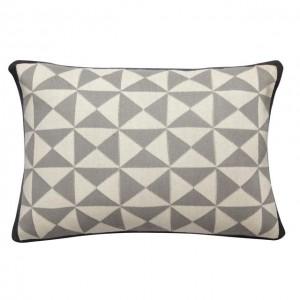 Pute med mønster - lysgrå/mørkgrå